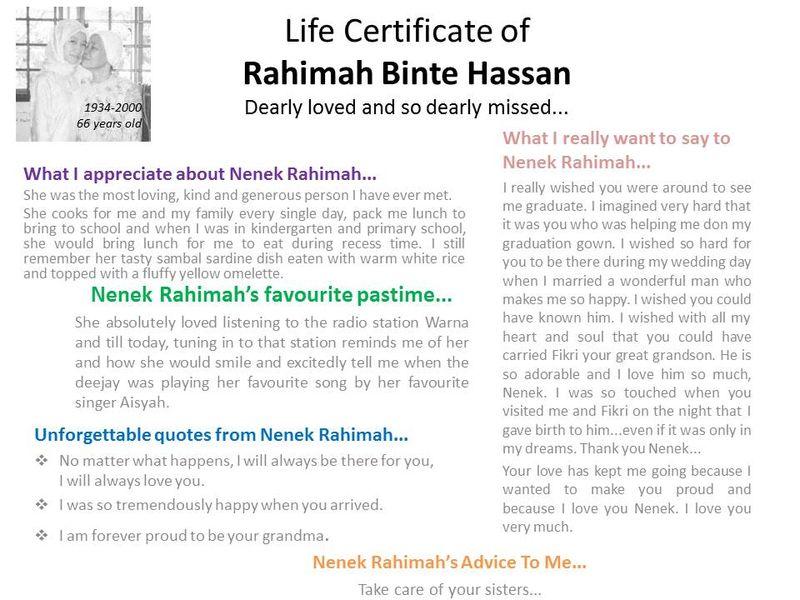 Life Certificate of Nenek Rahimah